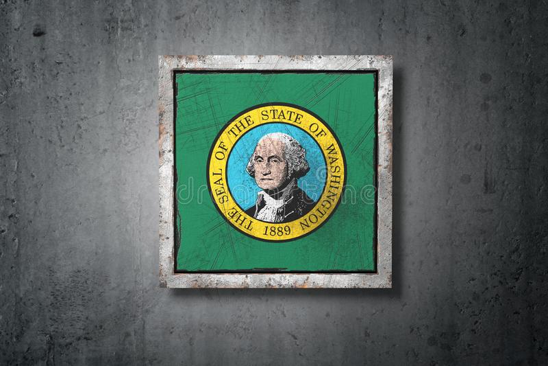 Stara stan washington flaga royalty ilustracja