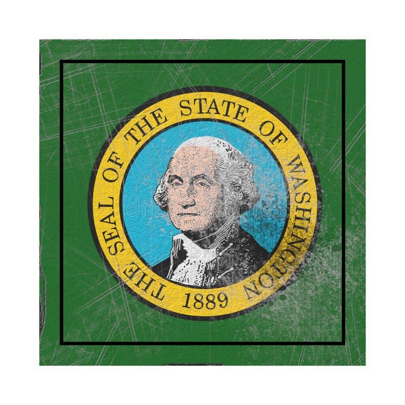 Stara stan washington flaga ilustracji