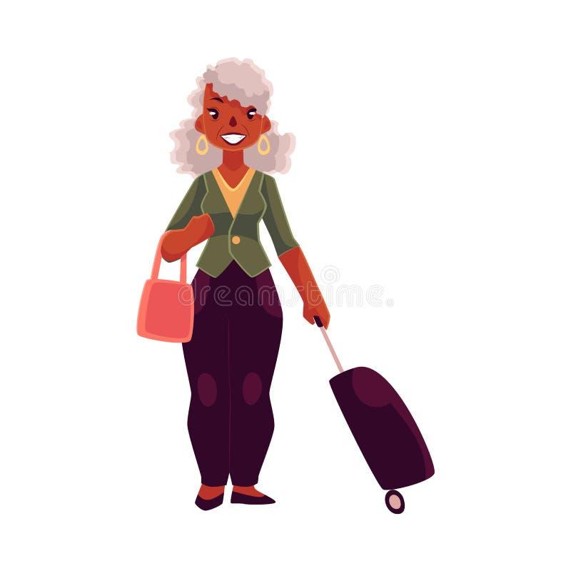 Stara, starsza amerykanin afrykańskiego pochodzenia kobieta z walizką, i torebka ilustracji