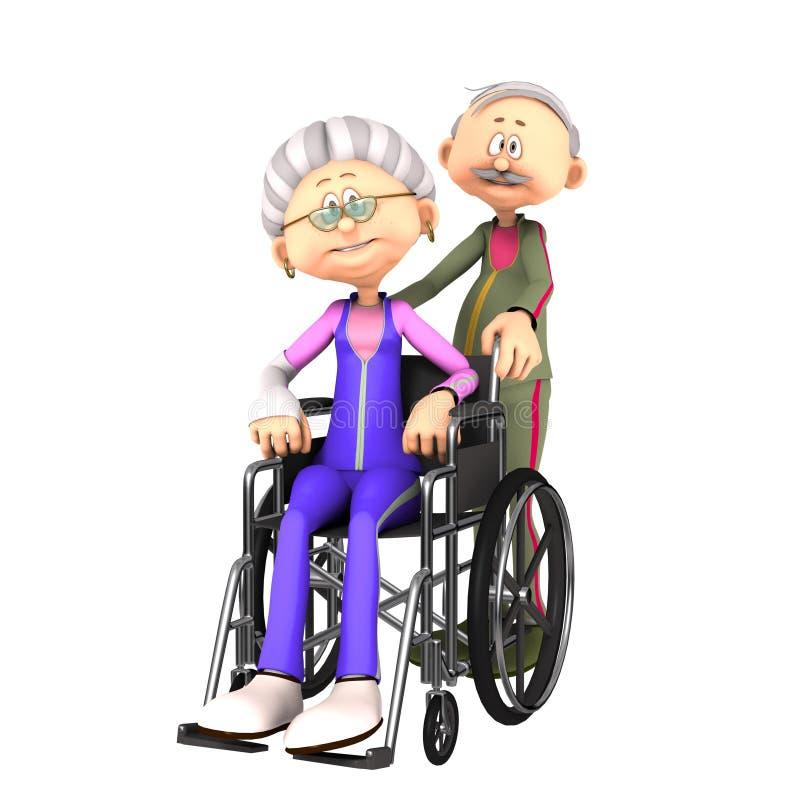 Stara starsza kobieta w wózku inwalidzkim ilustracja wektor
