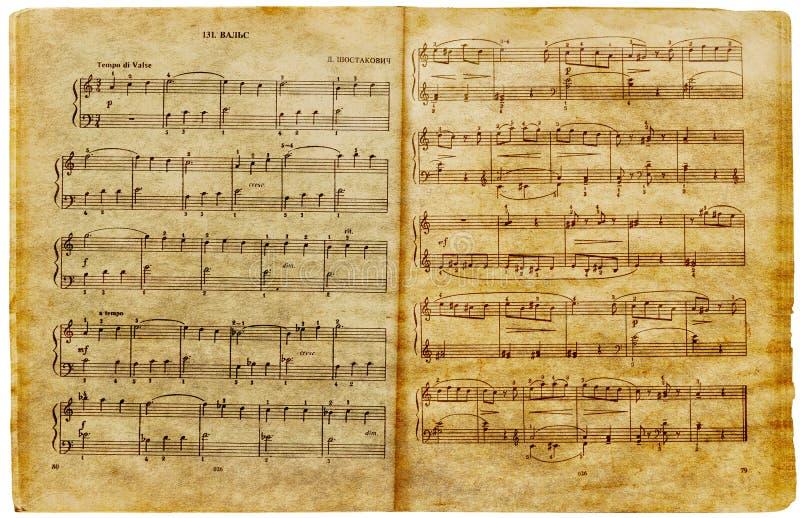 stara strona notatek muzycznych zdjęcie stock