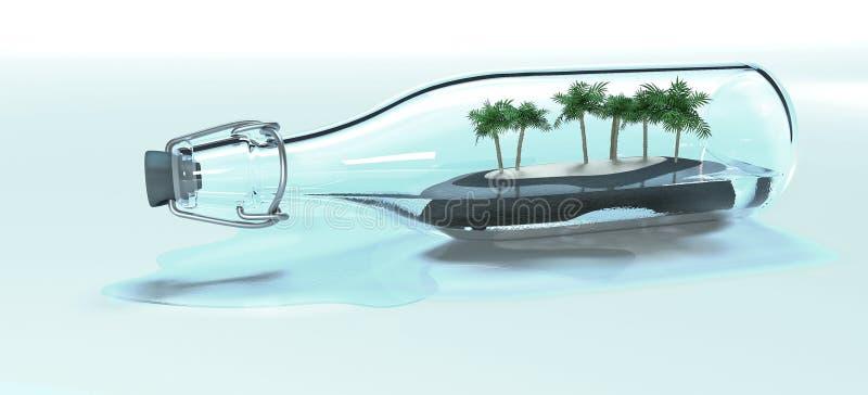Stara szklanej butelki vith wyspa z siedem palmami 3D odpłaca się obraz stock