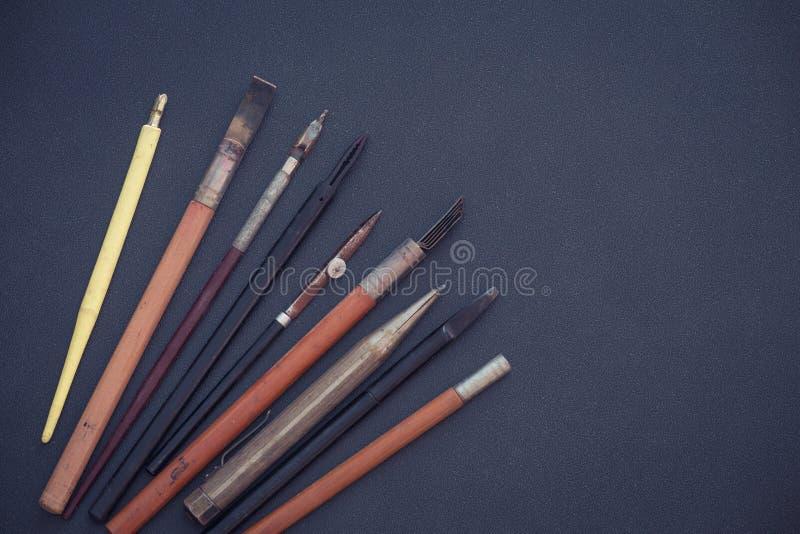 Stara szkoła, brulionowość i rysunkowi akcesoria, fotografia stock