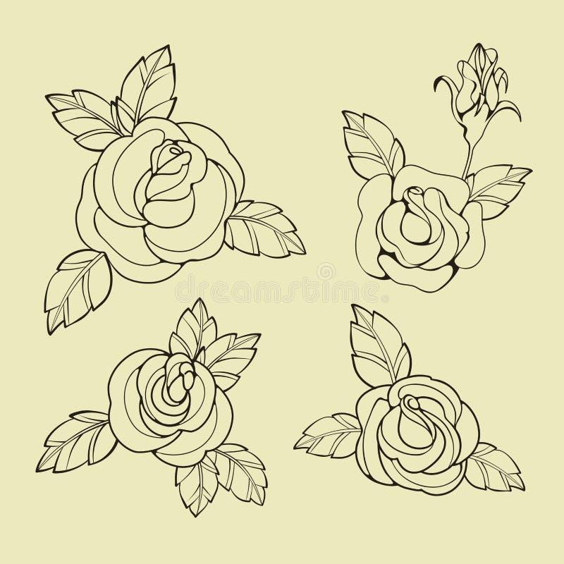Download Stara Szkoła Tatuażu Symbole Ilustracja Wektor - Ilustracja złożonej z wektor, pierwiosnek: 57654280