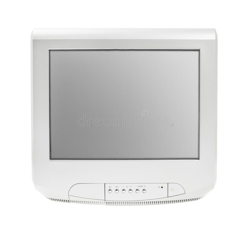 Stara telewizja lub Tv popielaty Parawanowy pokaz odizolowywaliśmy białego tło fotografia stock