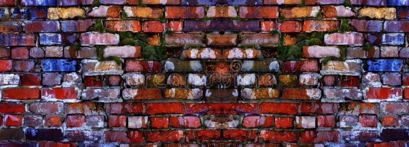 Stara Textured ściana z Kolorowymi cegłami i Zielonym mech dorośnięciem zdjęcie royalty free