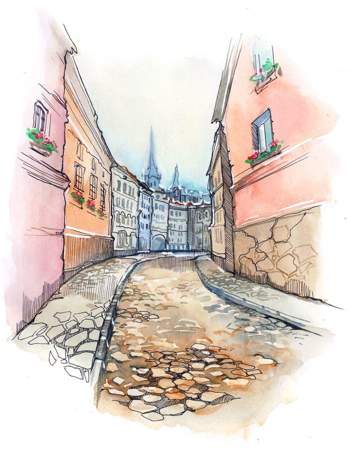 stara ulica royalty ilustracja
