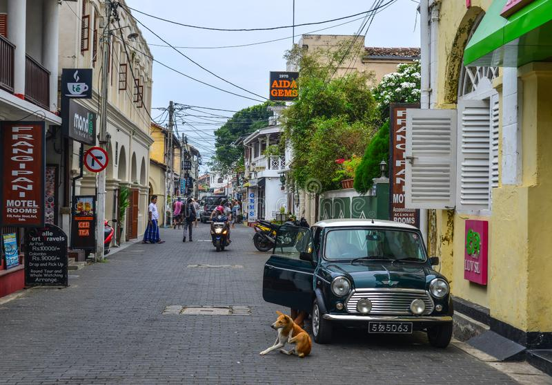 Stara ulica Galle, Sri Lanka zdjęcia stock