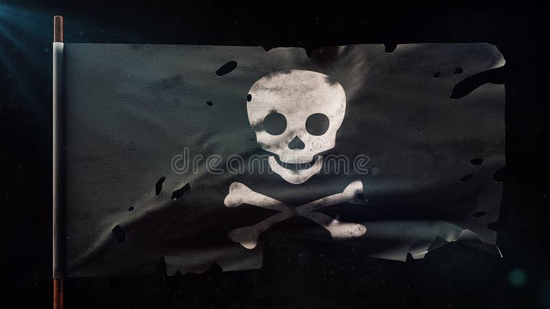 Stara uszkadzająca pirata Roger Bycza flaga Bóg cząsteczek 3D i promieni ilustracja ilustracja wektor