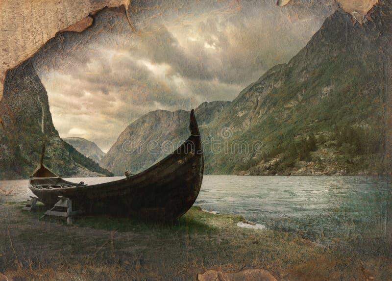 Stara Viking łódź w Gudvangen wiosce blisko Flama, Norwegia Retro im fotografia stock