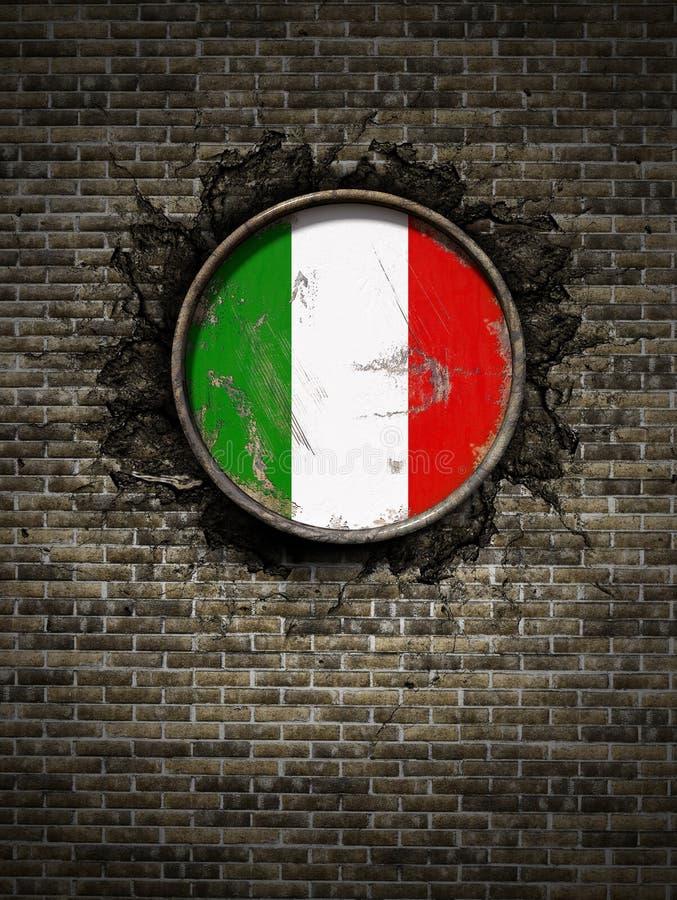 Stara Włochy flaga w ściana z cegieł ilustracja wektor