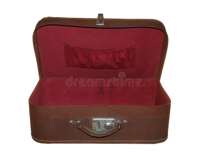 Stara walizka brown kolor z jeden metalu kędziorkiem odizolowywającym na whit zdjęcie royalty free