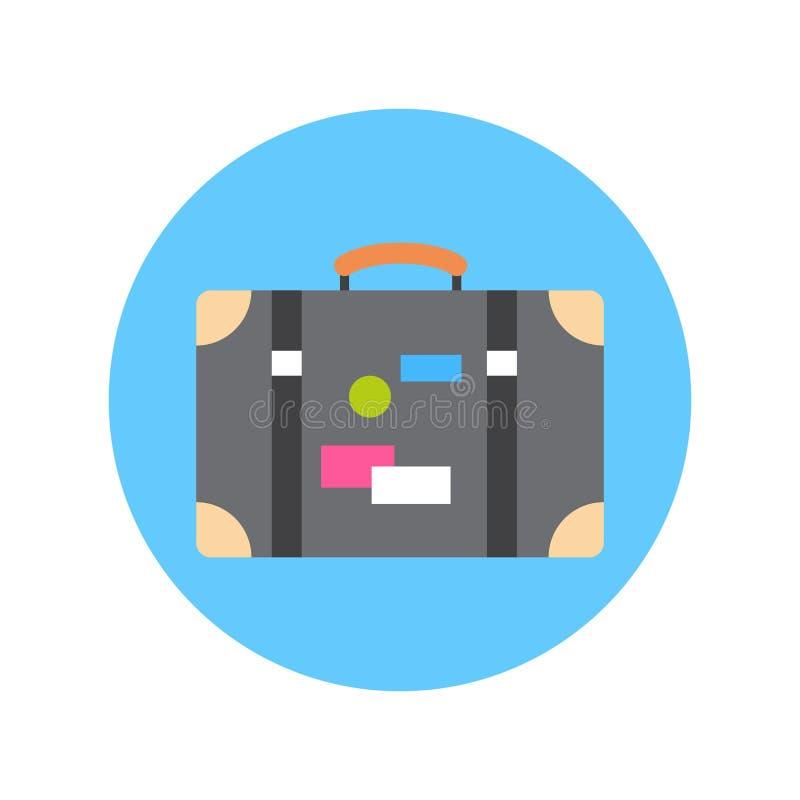 Stara walizka Z majcher ikony podróży bagażu pojęciem ilustracja wektor