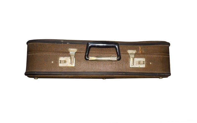 Stara walizka zamykająca odizolowywającą Rocznik skrzynka torebka retro obraz stock