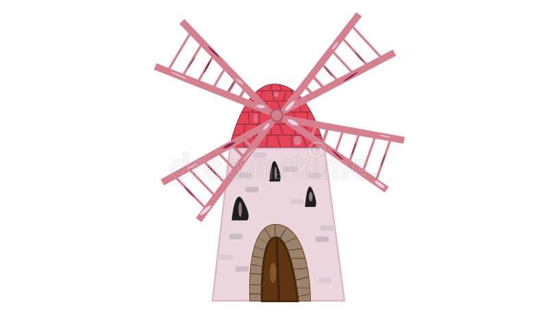 Stara wiatraczek ilustracja odizolowywał białego tło i ślicznego menchii drzwi skrzydeł i kamiennego royalty ilustracja