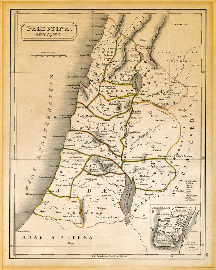 Antyczna Palestyna mapa Drukował 1845 fotografia stock