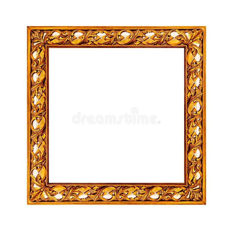 Stara złota rama z pustą kanwą dla twój obrazek fotografii wizerunku zdjęcie royalty free