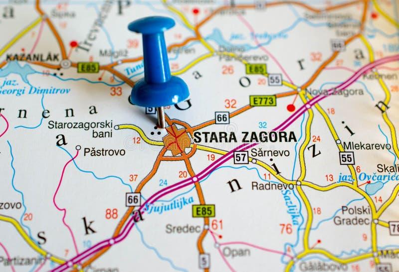 Stara Zagora на карте стоковое изображение rf