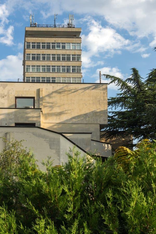Typical Building in the center of city of Stara Zagora, Bulgaria. STARA ZAGORA, BULGARIA - AUGUST 5, 2018: Typical Building in the center of city of Stara Zagora stock image