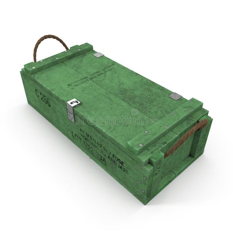 Stara zielona drewniana ammo skrzynka na bielu ilustracja 3 d ilustracja wektor