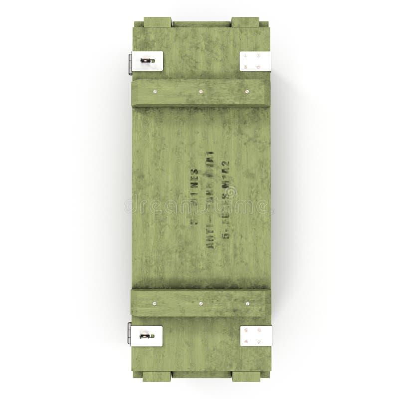 Stara zielona drewniana ammo skrzynka na bielu Odgórny widok ilustracja 3 d royalty ilustracja