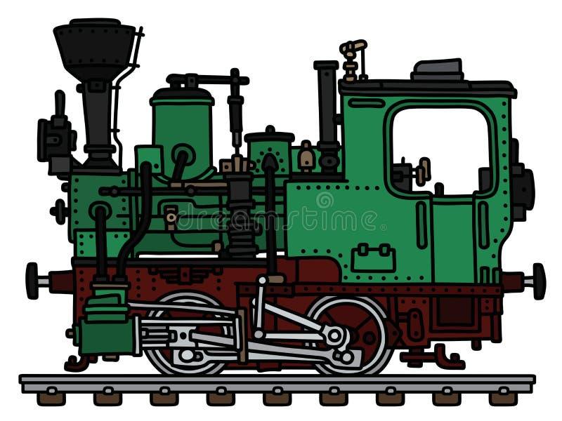 Stara zielona mała parowa lokomotywa ilustracji