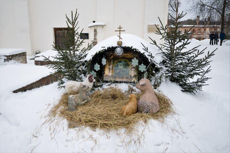 Staraya Ladoga, Russia, il 5 gennaio 2019 Composizione religiosa, dedicata al Natale, in un monastero ortodosso femminile fotografia stock libera da diritti