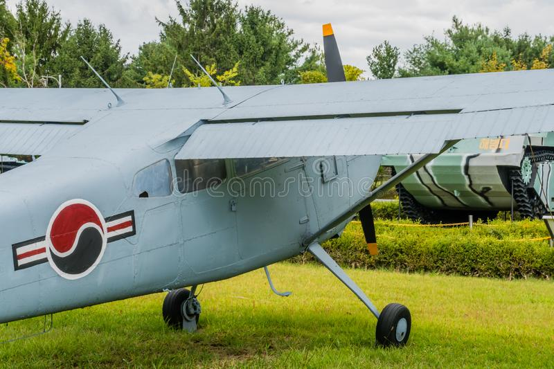 Starboard side of Cessna 140. Daejeon, South Korea; October 3, 2019: Closeup of starboard side of Cessna 140 military flight trainer on display at National stock image
