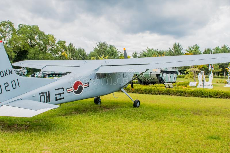 Starboard side of Cessna 140. Daejeon, South Korea; October 3, 2019: Starboard side of Cessna 140 military flight trainer on display at National Cemetery stock images