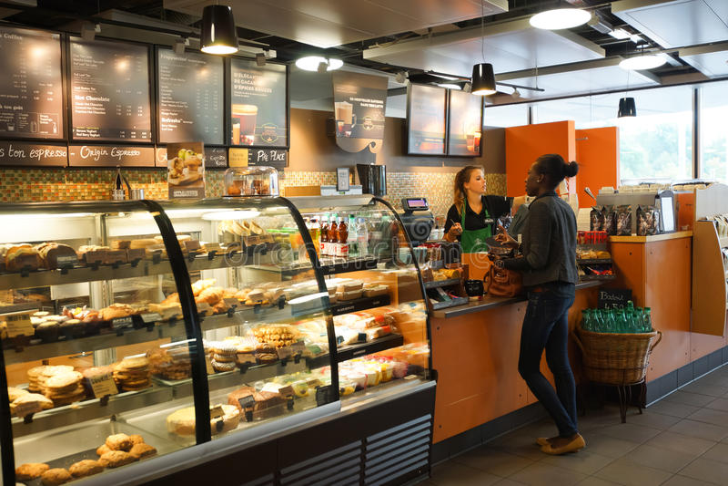 Starbucks cafe interior stock images