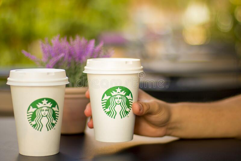 Starbucks coffee cups royalty free stock images