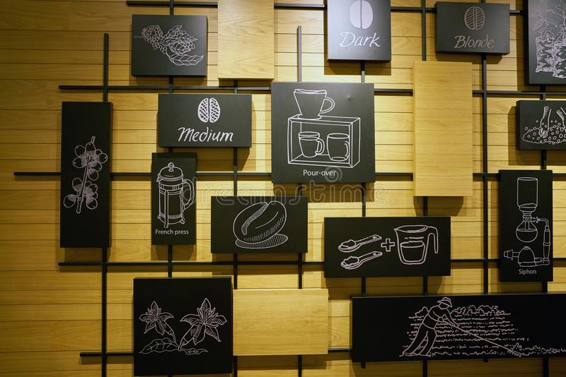 Starbucks coffee shop editorial stock image. Image of wall - 105029349