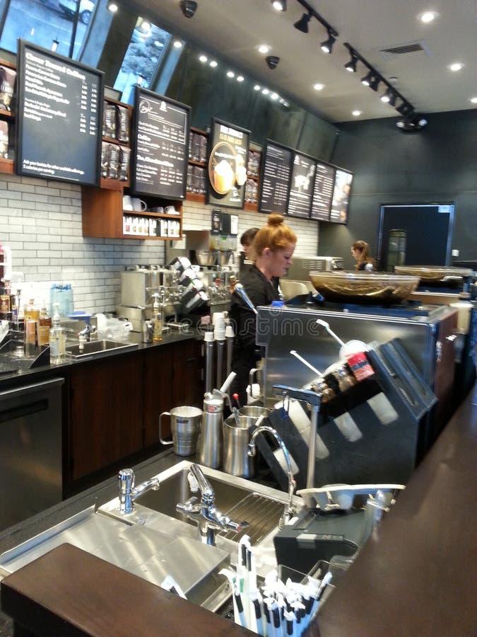 Starbucks in Downtown Portland Oregon. Starbucks Coffee Company interior in downtown Portland, Oregon, USA royalty free stock images