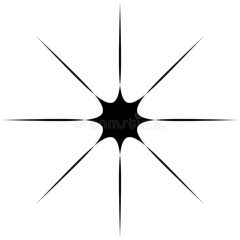Starburst、旭日形首饰或者微光,闪烁形状,元素剪影 库存例证