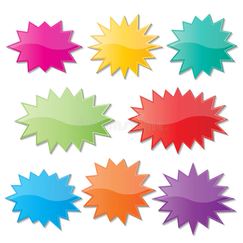 Starburst anförandebubblor stock illustrationer