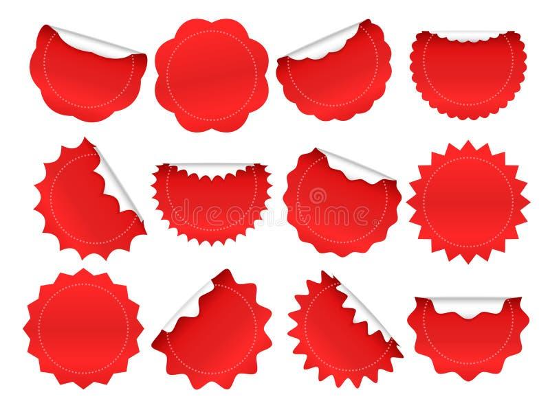 Starburst-Aufkleber Einkaufssternexplosionsknopf, rote Verkaufsaufkleber und starburst Formen funkt lokalisierten Vektorrahmensat stock abbildung