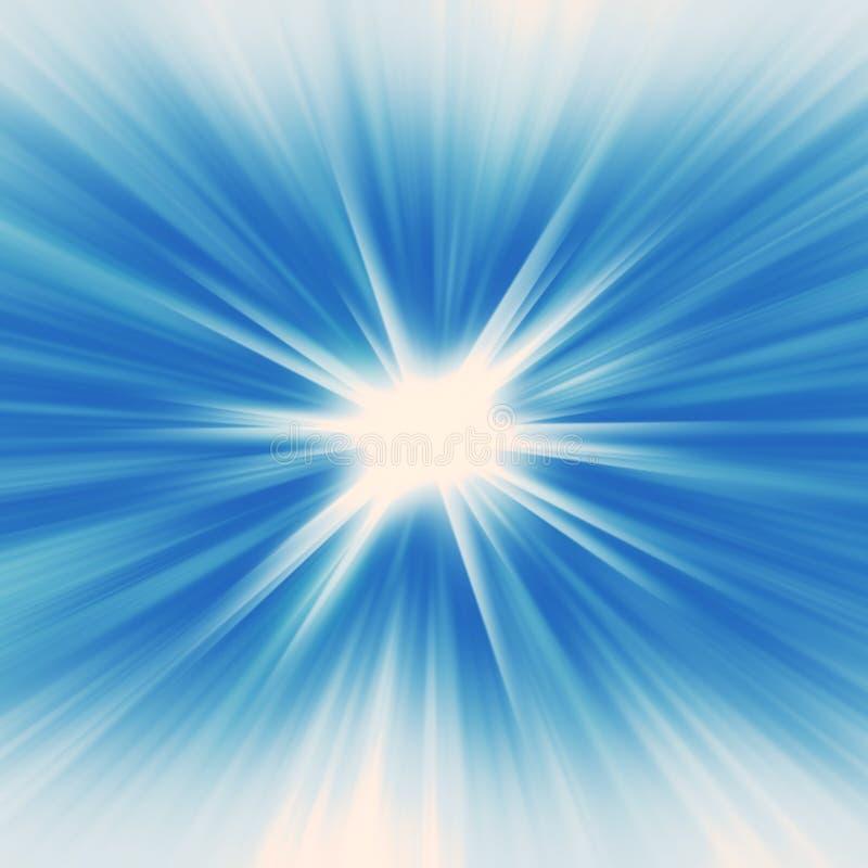 Starburst d'ardore del fondo radiante radiale blu dell'insegna illustrazione di stock