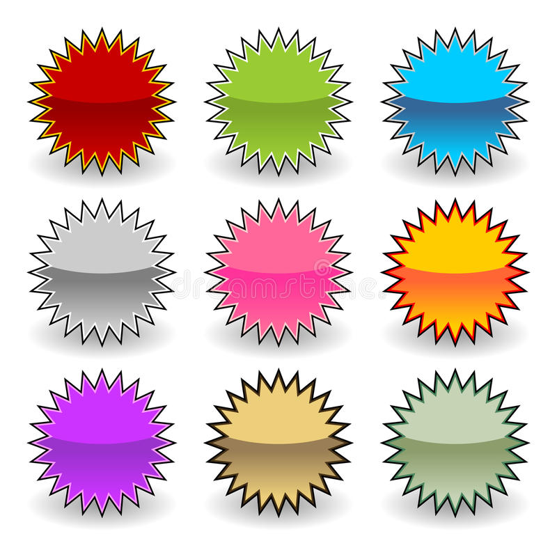 Starburst etiketter stock illustrationer