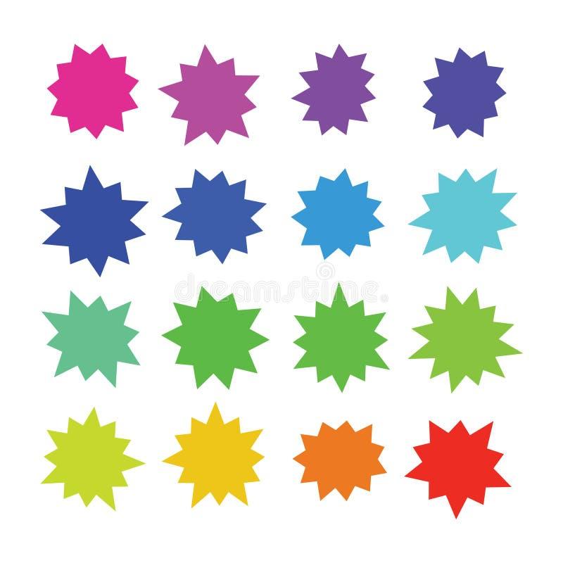 Starburst, formas cômicas da cor da explosão Desenhos animados que estouram bolhas do discurso Grupo do vetor dos botões da venda ilustração stock
