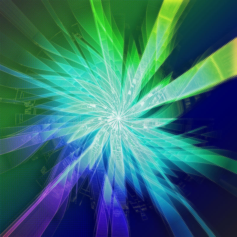 Starburst in green and blue with silhouettes stock illustration