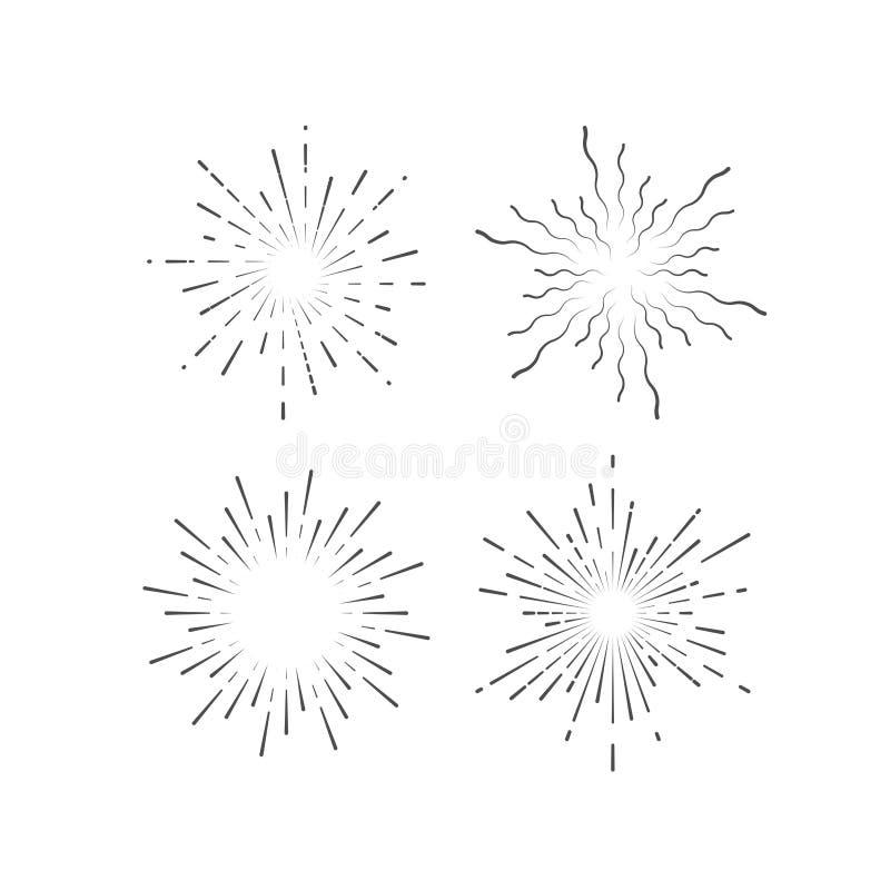 Starburst o colección del resplandor solar ilustración del vector