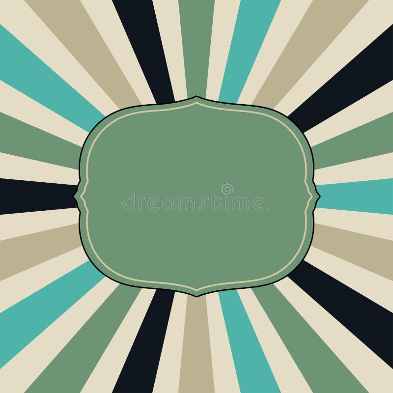 Starburst ou modèle de fond de rayon de soleil avec un cadre victorien vide avec une palette de couleurs de vintage de vert bleu  illustration stock