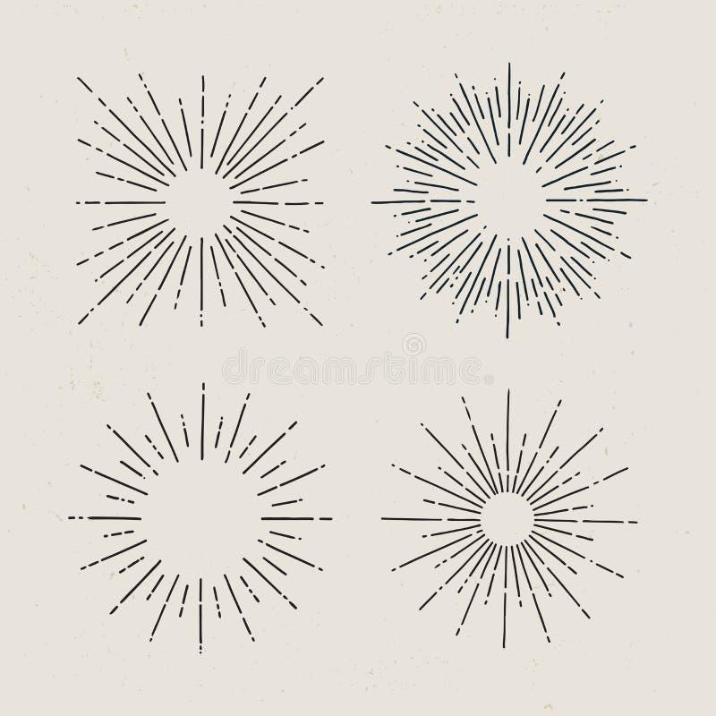 Starburst, raios de sol Grupo de sunbursts tirados mão no fundo claro ilustração stock