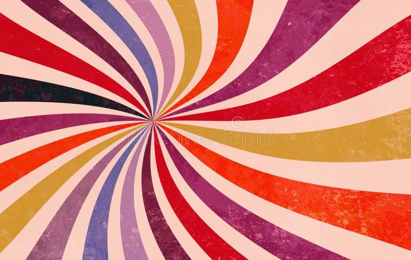Starburst retro ou teste padrão sunburst do fundo com uma laranja amarela cor-de-rosa roxa vermelha azul e preta ilustração royalty free