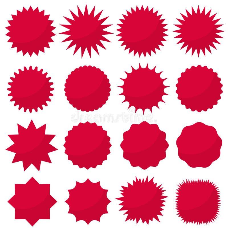 Starburst seals set, Bursting rays clip art. Red sparkles. Sale sticker. Vector vector illustration