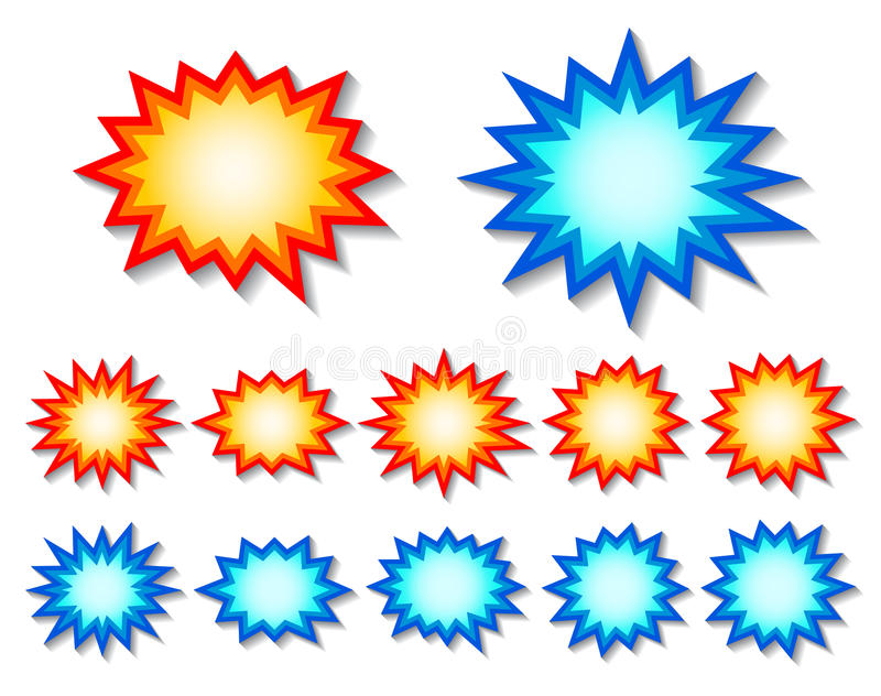 Starburst. Set of red and blue starburst speech bubbles