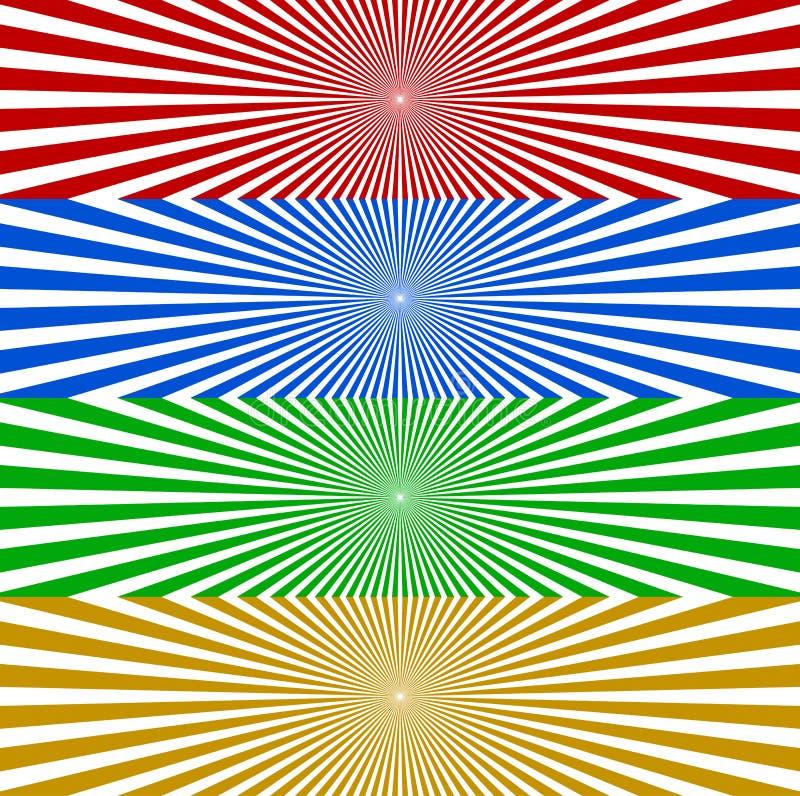 Starburst/Sonnendurchbruchfahnenhintergrund in Farbe 4 Zusammenlaufen, r stock abbildung