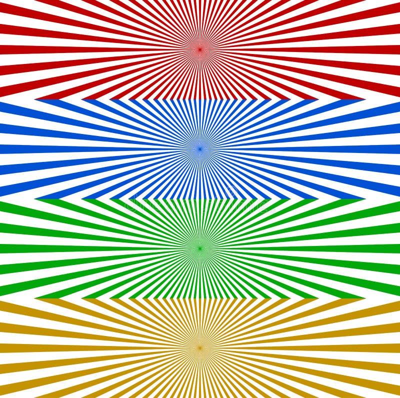 Starburst/Sonnendurchbruchfahnenhintergrund in Farbe 4 Zusammenlaufen, r vektor abbildung