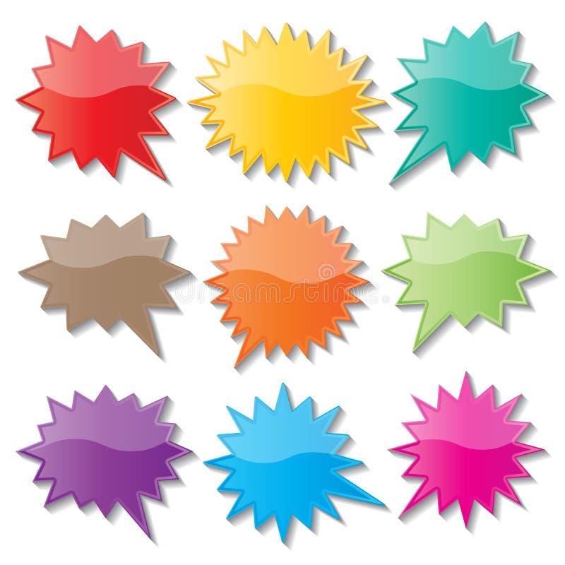 Starburst speech bubbles. Set of blank colorful paper starburst speech bubbles vector illustration