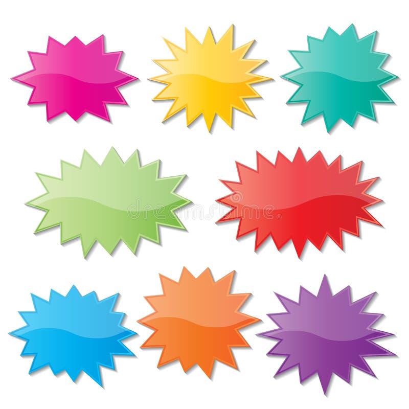 Starburst speech bubbles. Set of blank colorful paper starburst speech bubbles